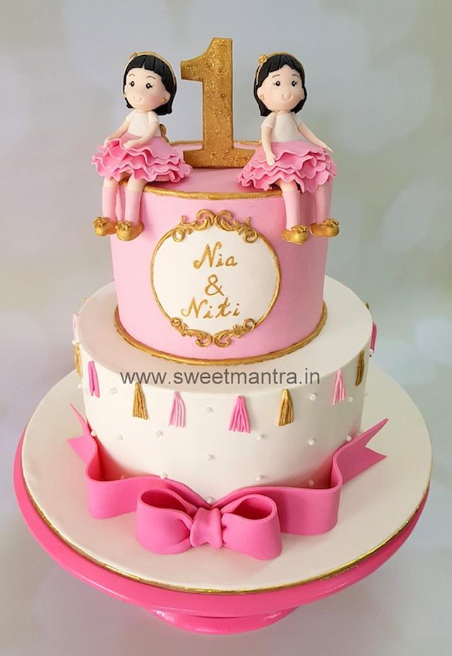 Brilliant 2 Tier Fondant Cake For 1St Birthday Of Twin Girls Cake Cakesdecor Funny Birthday Cards Online Alyptdamsfinfo