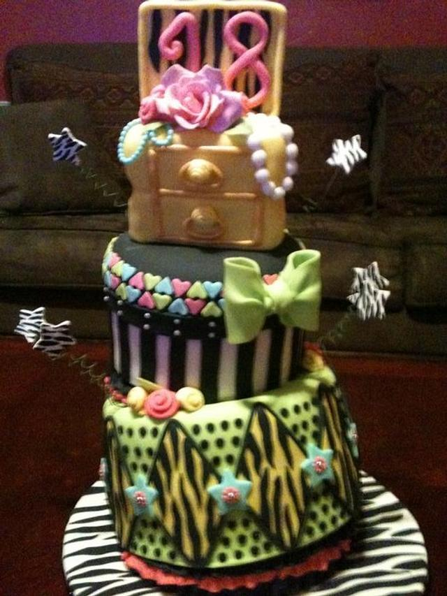 Funky 18th Birthday Cake