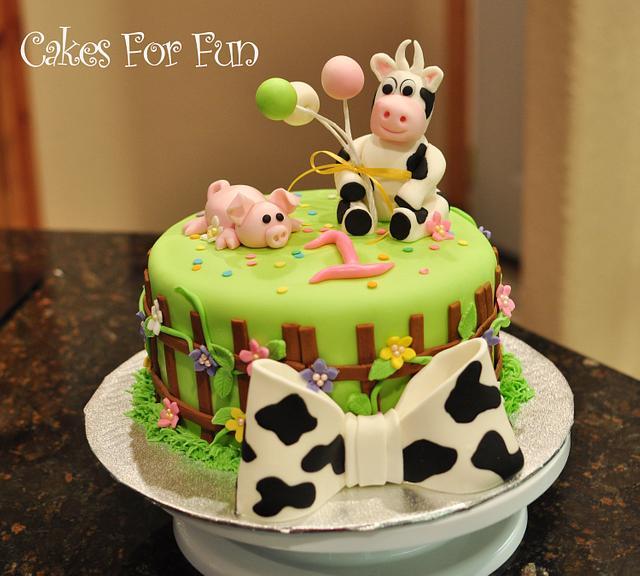 Pleasing Farm Animal Birthday Cake Cake By Cakes For Fun Cakesdecor Funny Birthday Cards Online Alyptdamsfinfo