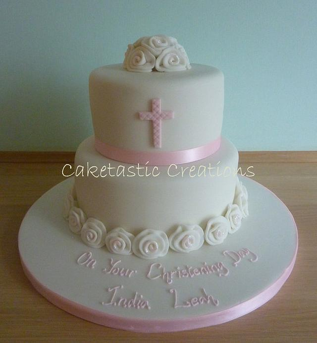 Ribbon Roses Christening Cake