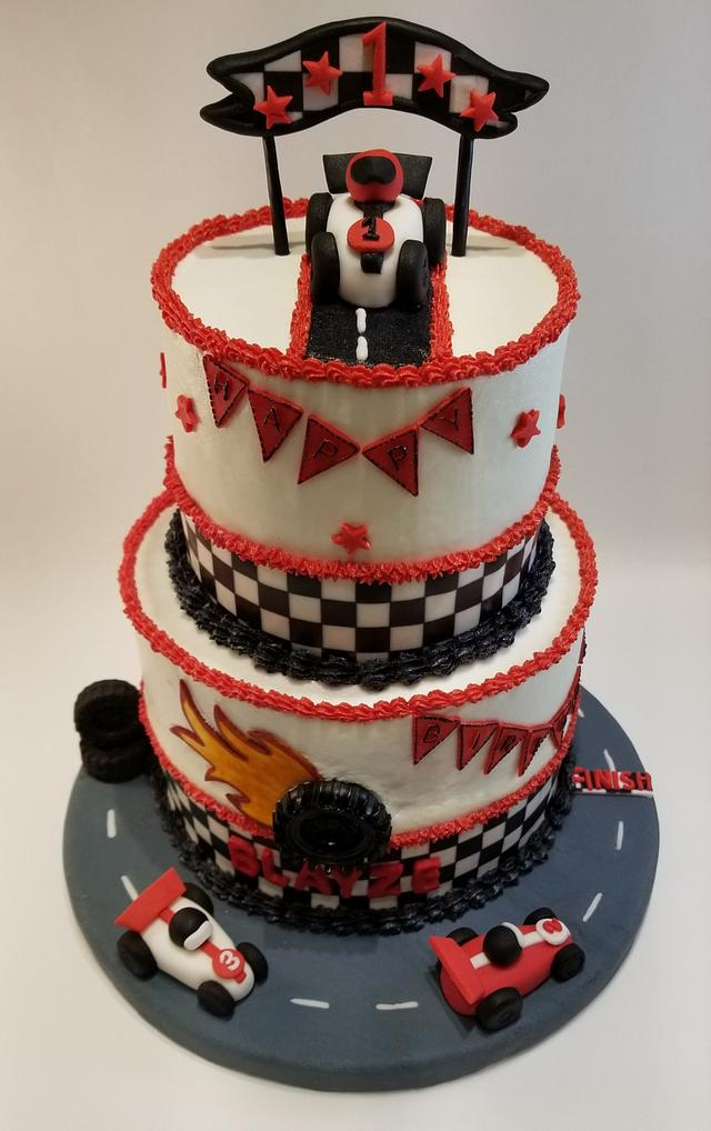 Astonishing Race Car 1St Birthday Cake Cake By Eiciedoesitcakes Cakesdecor Funny Birthday Cards Online Elaedamsfinfo