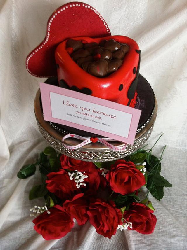 Valentines day chocolate heart box