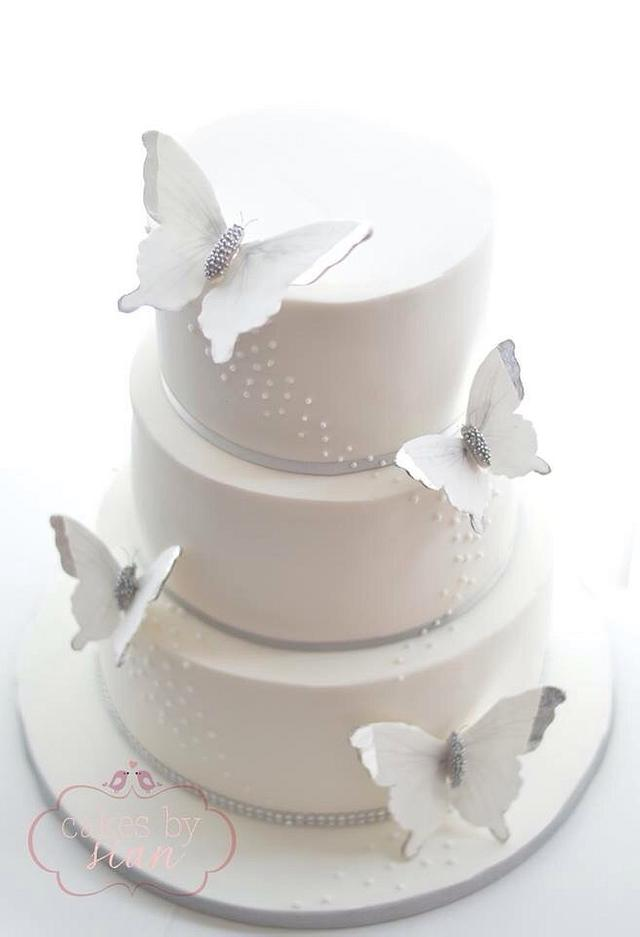 Sparkly butterfly wedding cake