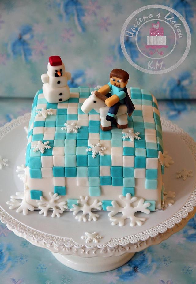 Winter Minecraft cake