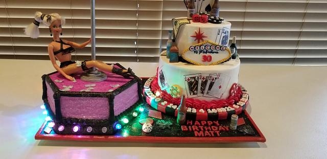 Outstanding Las Vegas Casino Stripper Themed 30Th Birthday Cakes Cakesdecor Funny Birthday Cards Online Alyptdamsfinfo