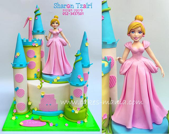 castle cake and cinderella in a pink dress :)