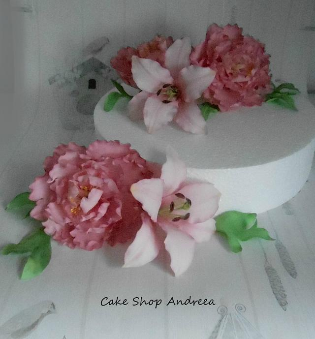 peonies and casablanca lilies