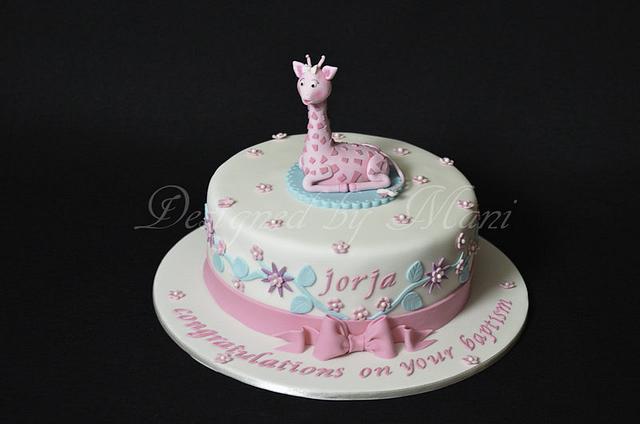 'sophie the giraffe' christening cake