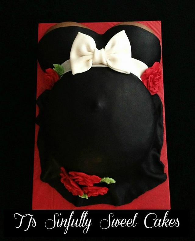 Black & Red Pregnant Belly Cake