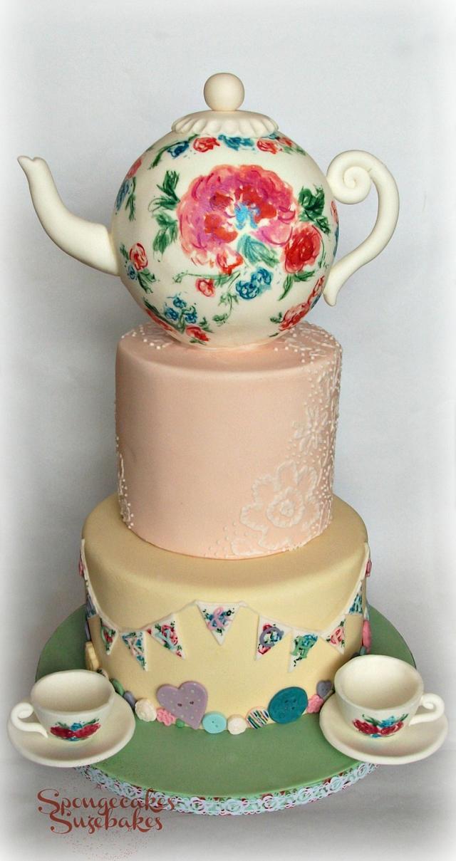 Tea Party Wedding Cake
