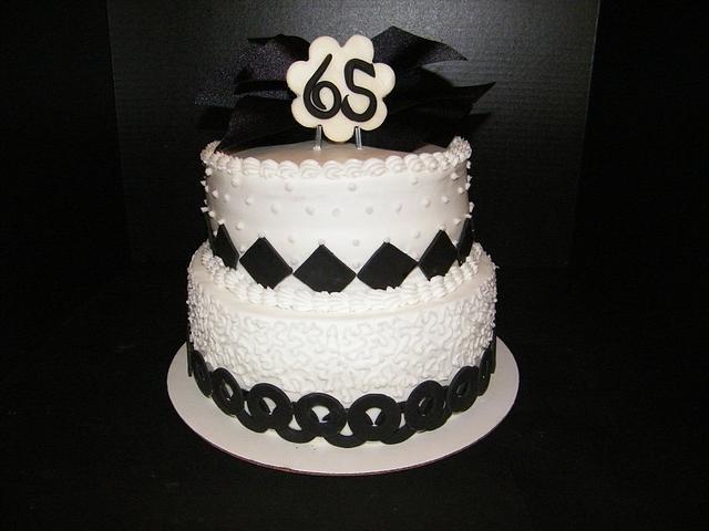 Black & White themed birthday cake