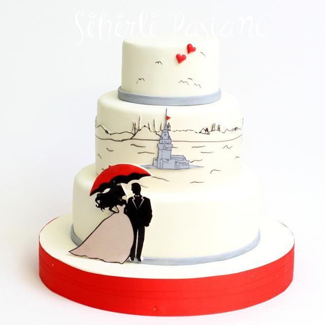 Istanbul Themed Wedding Cake