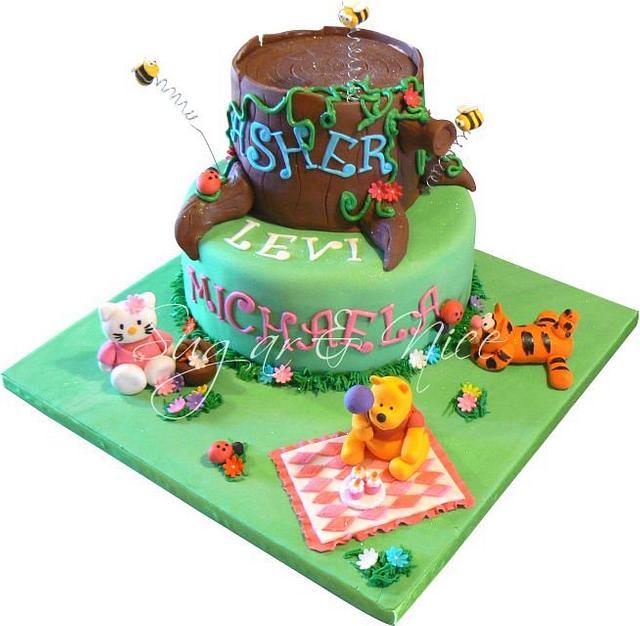 Winnie the Pooh & Friends (Tigger & Hello Kitty) Cake