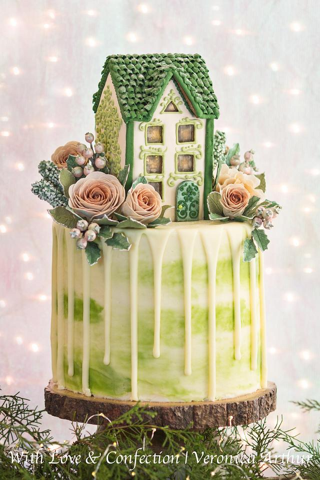 Gingerbread House Drip Cake by Veronica Arthur