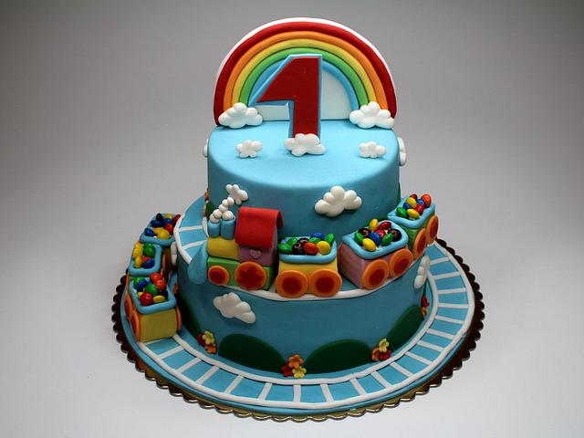 Pleasant Rainbow Train Birthday Cake Cake By Beatrice Maria Cakesdecor Funny Birthday Cards Online Fluifree Goldxyz