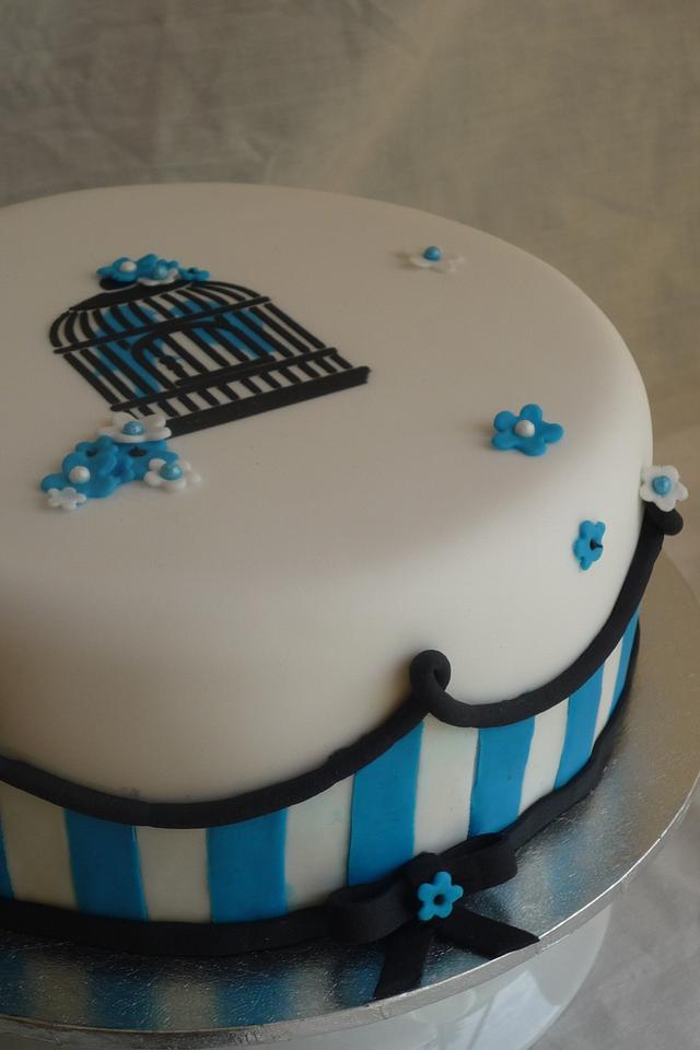 Bird cage and blue stripes