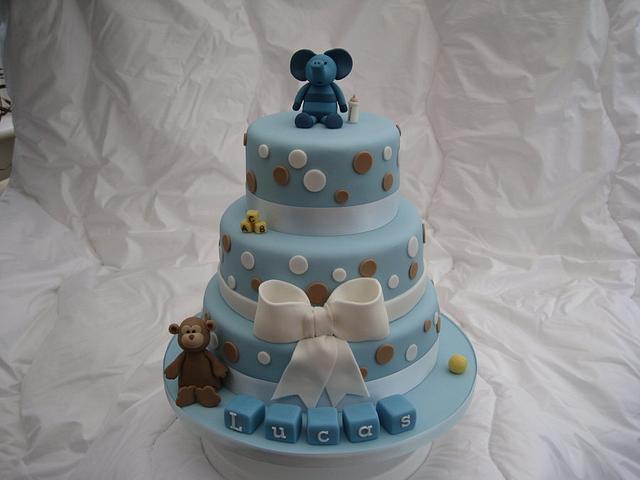 Blue spot Christening Cake