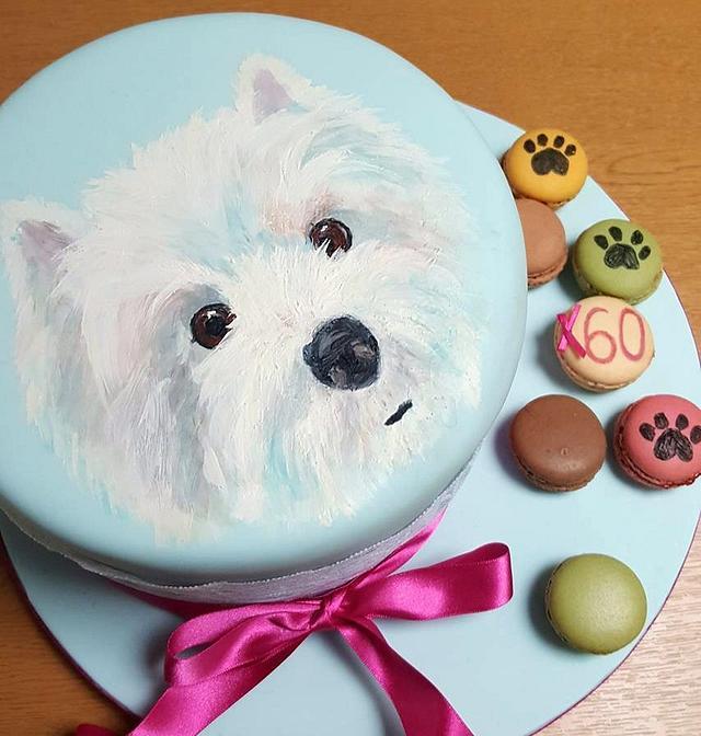 Westie Painted Cake