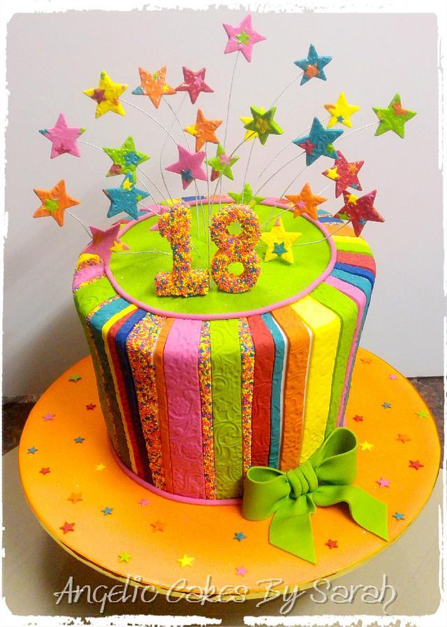 Peachy Funky Fun Colourful 18Th Birthday Cake Cake By Angelic Cakesdecor Personalised Birthday Cards Arneslily Jamesorg