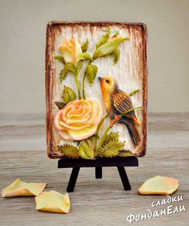 Bird with Roses - cookie