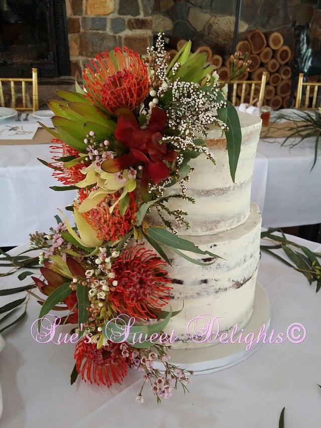 Semi naked wedding cake.