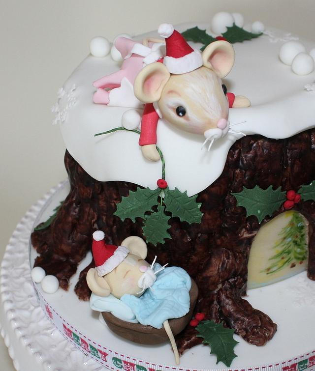 Cute Mice Christmas Cake