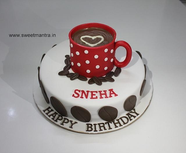 Brilliant Coffee Mug Theme Customized Fondant Birthday Cake Cake Cakesdecor Funny Birthday Cards Online Kookostrdamsfinfo