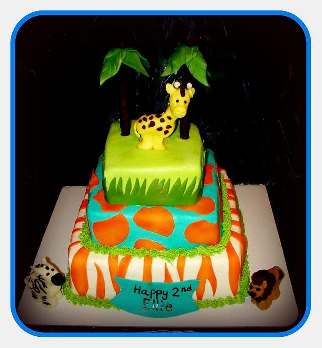 Marvelous Whimsical Safari Birthday Cake By Angel Rushing Cakesdecor Funny Birthday Cards Online Alyptdamsfinfo