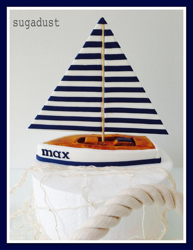 Wooden toy Sailboat cake