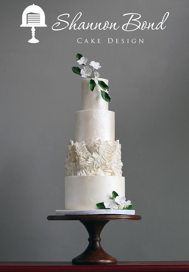Gathered Ruffle Wedding Cake