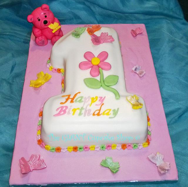 1st birthday cake - teddy and butterflies