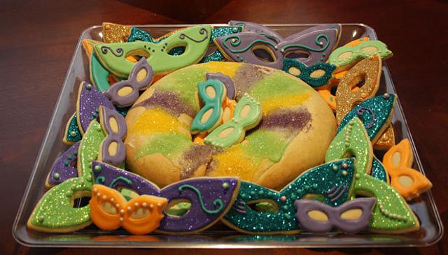 King Cake and Mask Cookies