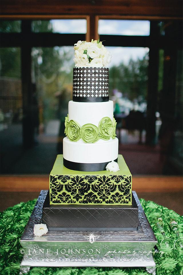 Modern Green, White, and Black Wedding Cake