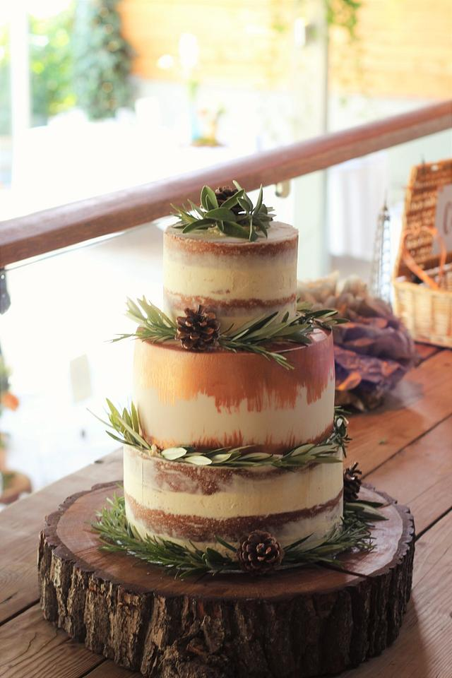 Copper and semi naked wedding cake