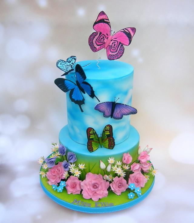 Incredible Miss Ellies Butterfly Birthday Cake Cake By Karen Cakesdecor Personalised Birthday Cards Petedlily Jamesorg