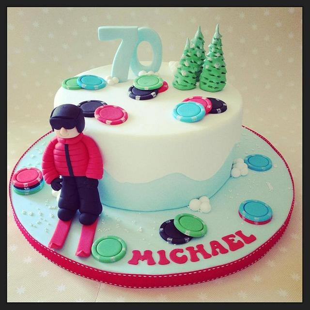 Skiing Cake with a few poker chips