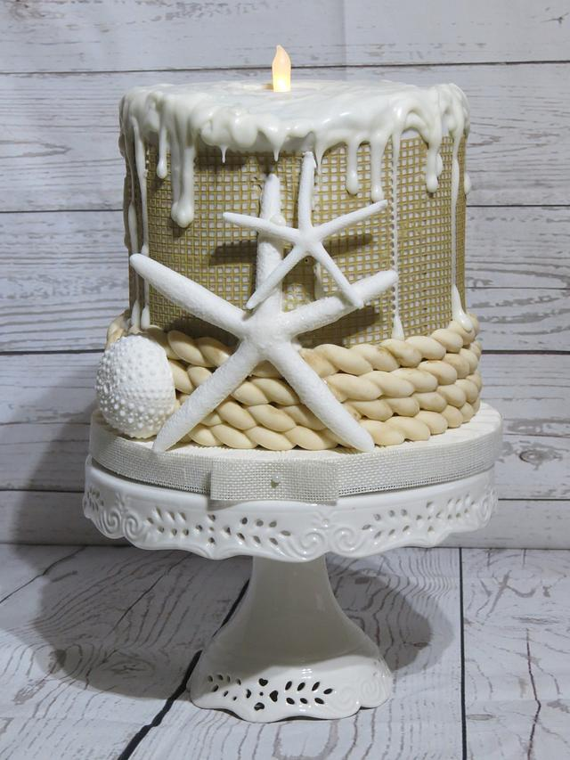 Seaside /Burlap Cake