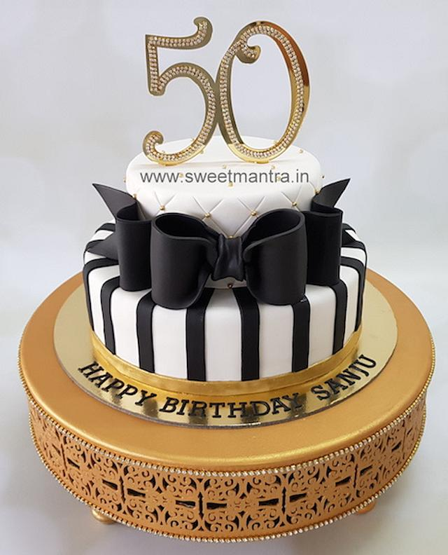 Stupendous 2 Tier Fondant Cake For 50Th Birthday Cake By Sweet Cakesdecor Personalised Birthday Cards Sponlily Jamesorg