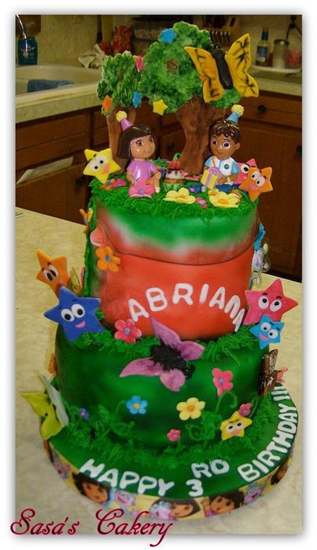 Sensational Dora Birthday Cake Cake By Sara Cakesdecor Funny Birthday Cards Online Alyptdamsfinfo
