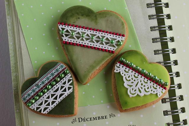 Christmas heart cookies