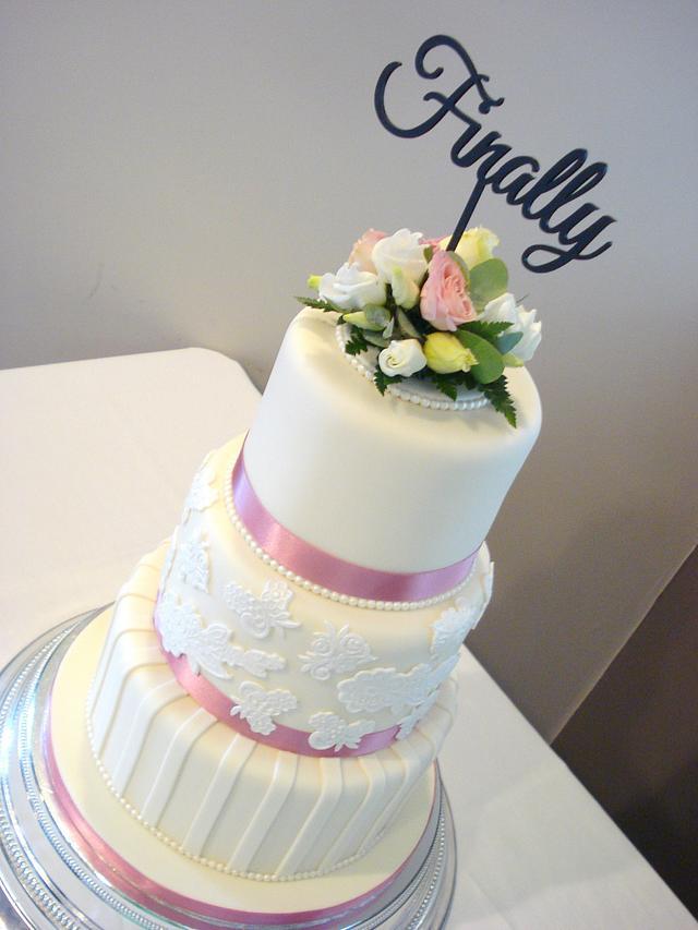 Lace & Stripes Wedding Cake