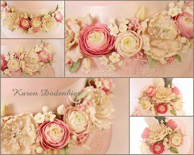 Peony and Ranunculus wedding cake