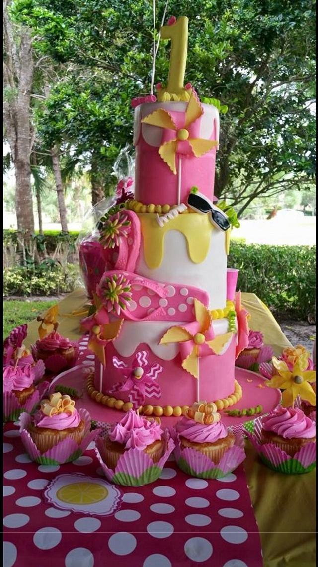 Surprising Hot Pink Lemon Yellow Birthday Cake Cake By Margie Cakesdecor Funny Birthday Cards Online Ioscodamsfinfo