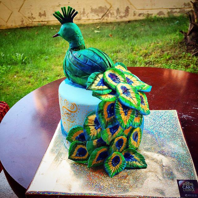 Peacock on a cake