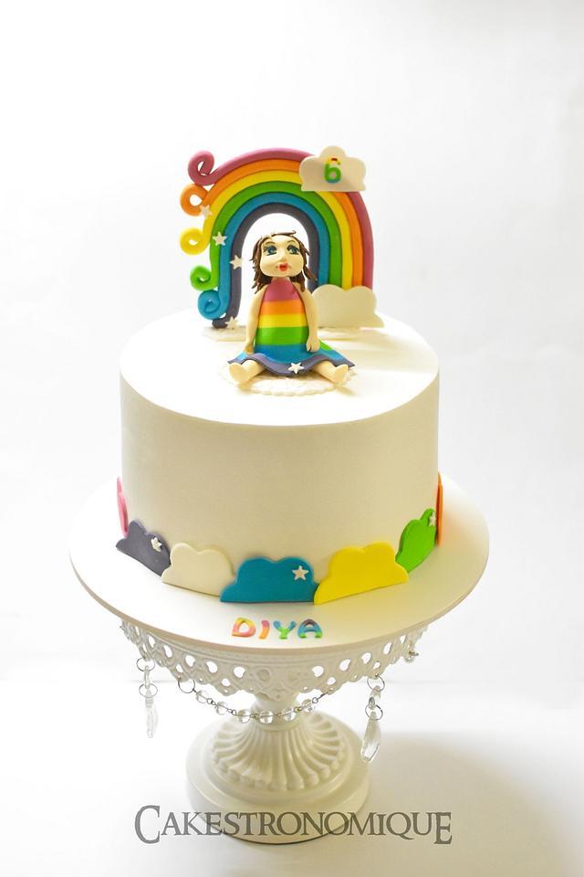 Whipped cream rainbow cake