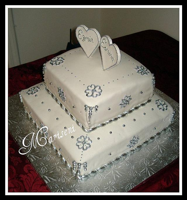 Silver & White Engagement Cake
