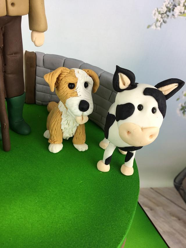 Farmer and his animals 30th birthday cake