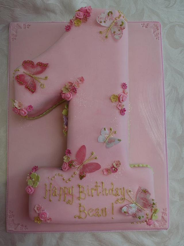 Astonishing Butterfly No1 First Birthday Cake Cake By Scrummy Cakesdecor Personalised Birthday Cards Petedlily Jamesorg