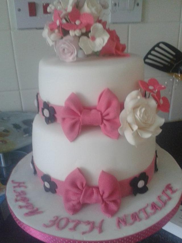 Pink, white and black 30th birthday cake