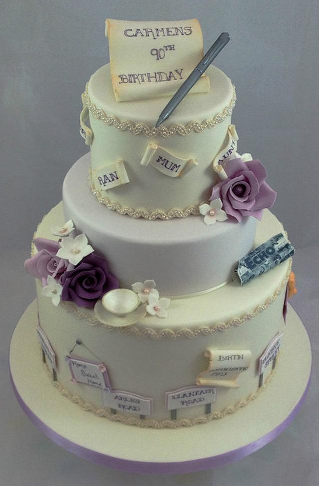 Cool Vintage 90Th Birthday Cake Cake By Devolicakes Cakesdecor Funny Birthday Cards Online Elaedamsfinfo